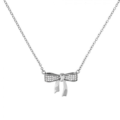 Silver & Pavé Bow Necklace