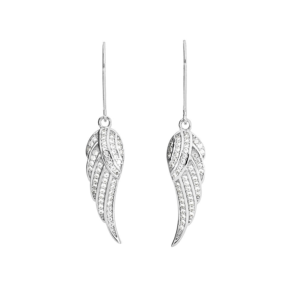 Silver Pavé Angel Wing Drop Earrings