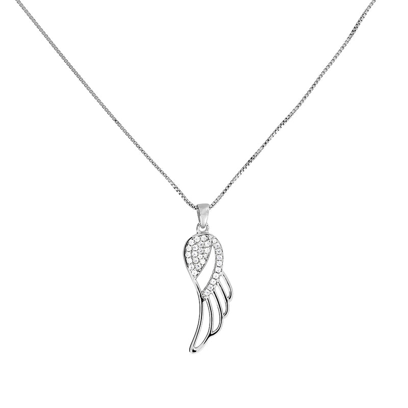Silver & Pavé Outline Angel Wing Pendant