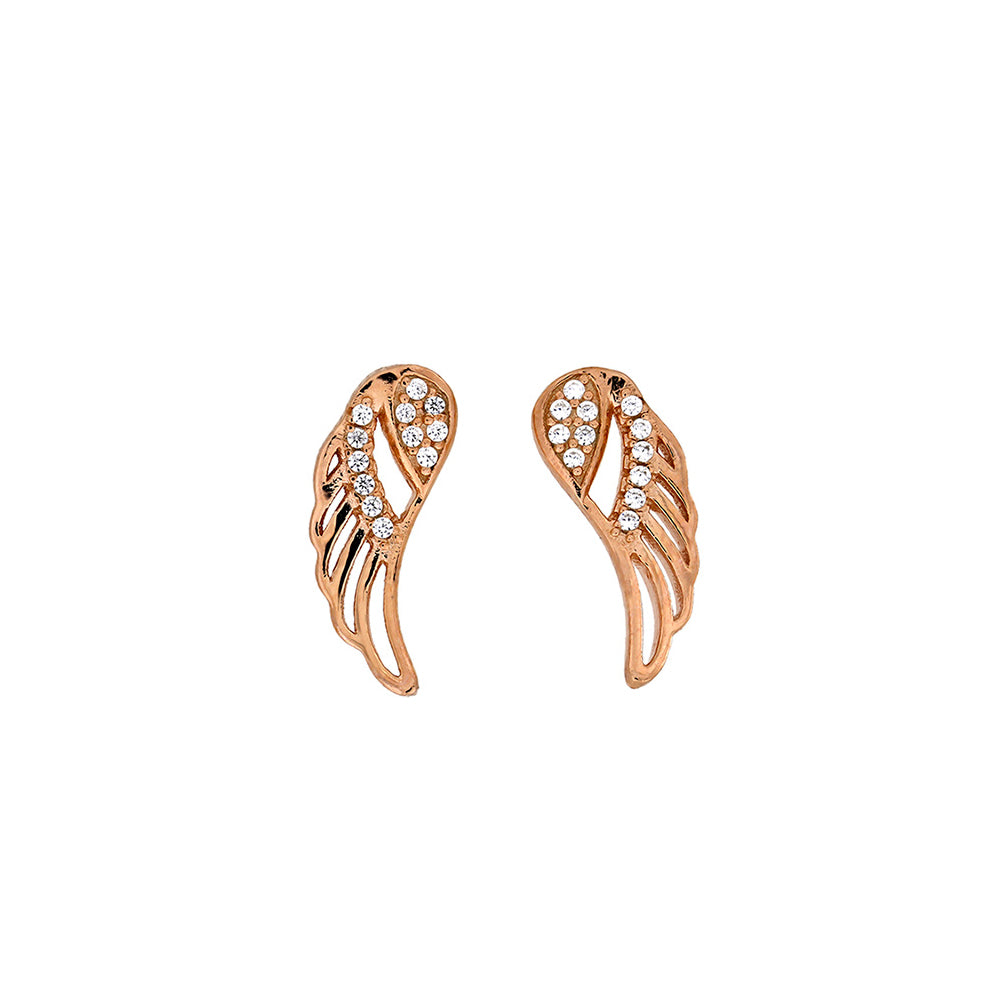 Rose & Pavé Outline Angel Wing Studs