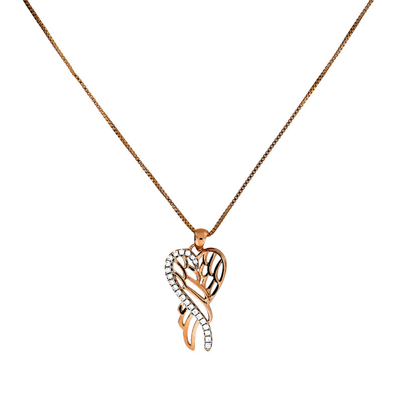 Rose Vermeil Folded Angel Wings Pendant