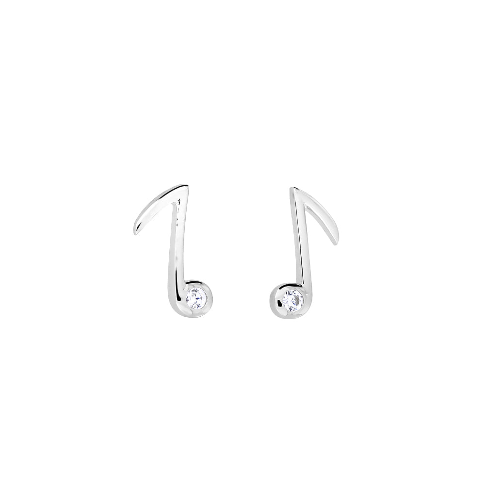 Silver Quaver Stud Earrings