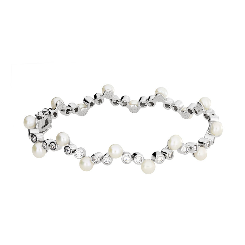 Silver and Pearl Cluster Bracelet