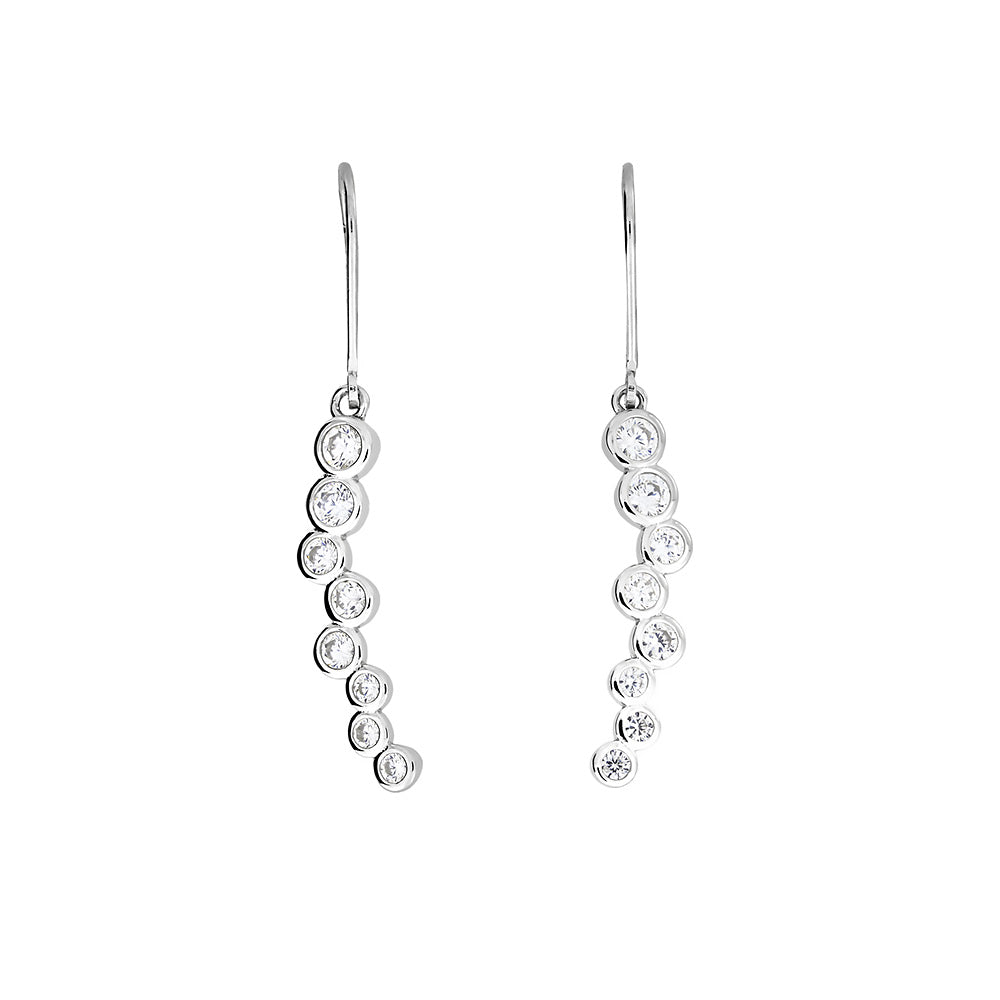 Silver & Cubic Zirconia Eternity Drop Earrings