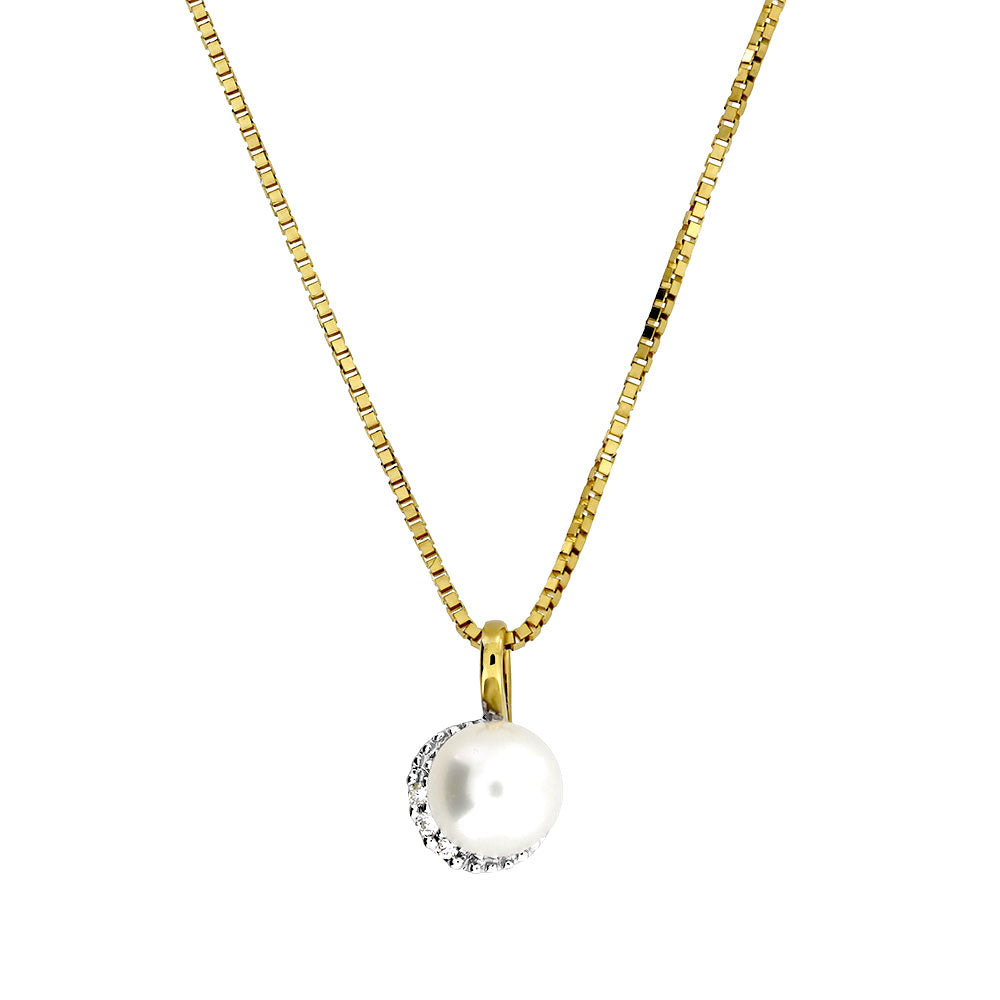 Gold Pearl & Diamond Pendant