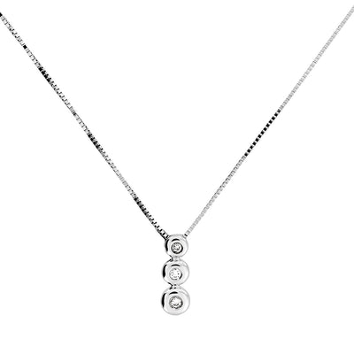 White Gold Triple Diamond Pendant
