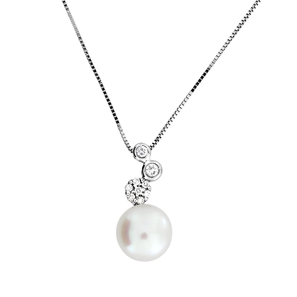 White Gold Diamond & Pearl Cluster Pendant