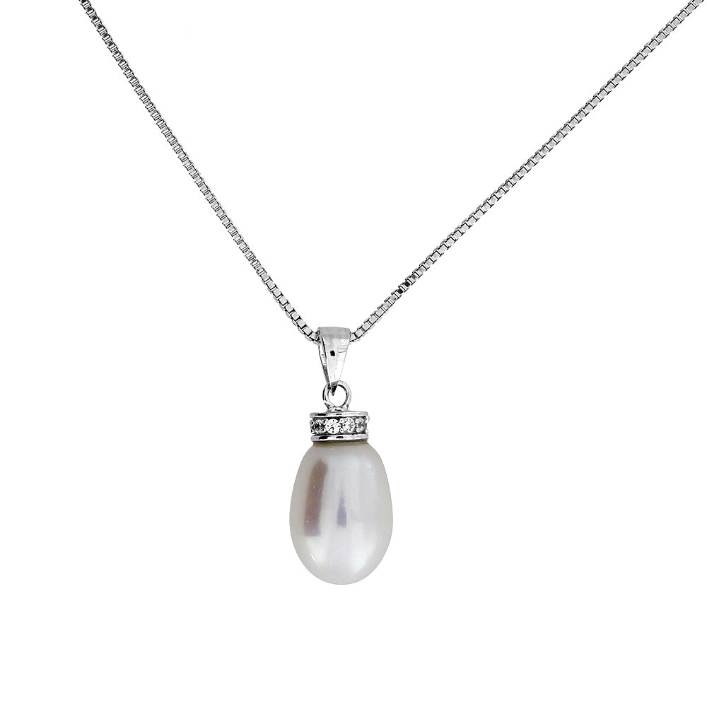 Freshwater Pearl Pendant with Pavé Halo