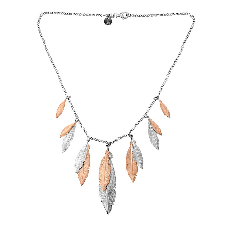 Silver & Rose Multi Feather Necklace