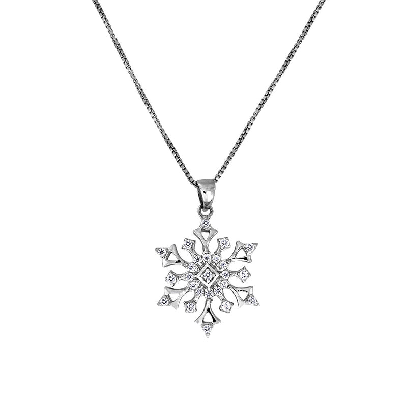 Six Point Silver Snowflake Pendant