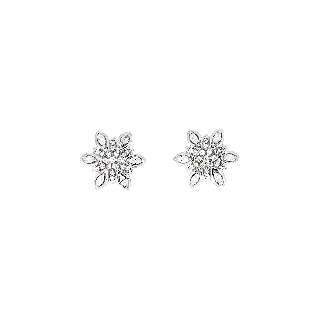 Silver Marquise Snowflake Stud Earrings