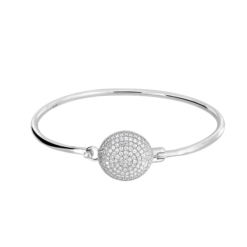 Silver Pavé Disc Bangle