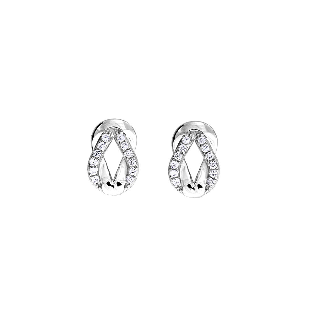 Sterling Silver Pavé Love-Knot Earrings