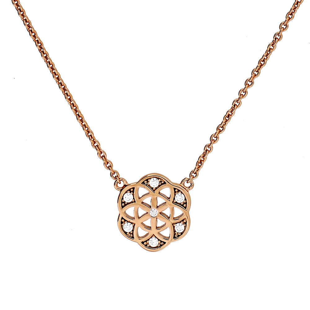 Pavé Mini Camellia Rose Necklace