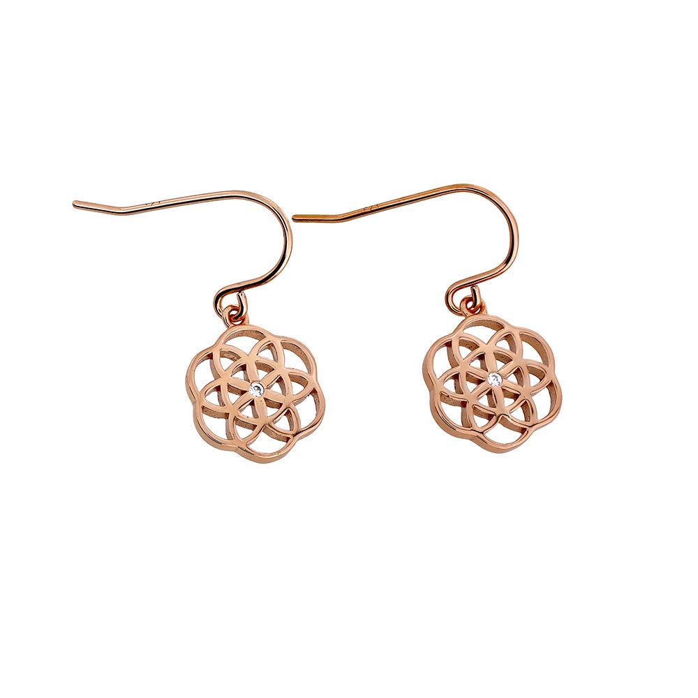 Rose Vermeil Open Camellia Drop Earring