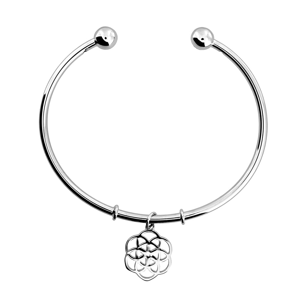 Silver Open Camellia Rose Cuff Bangle