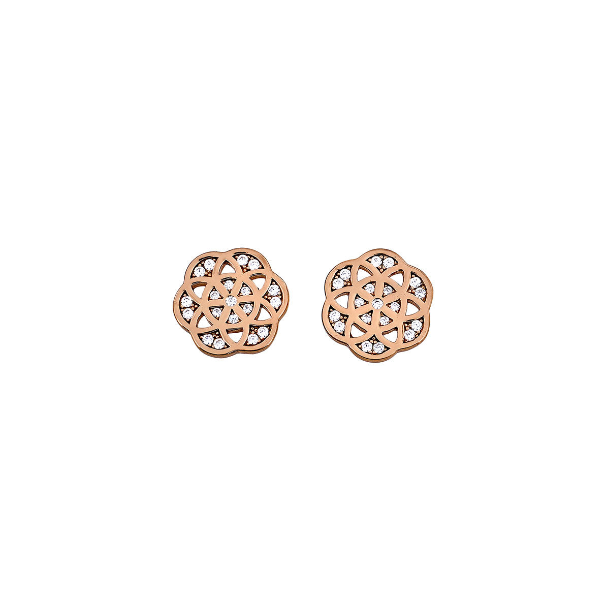 Rose Vermeil Pavé Camellia Stud Earrings