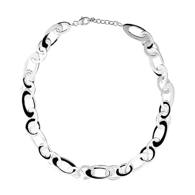 Silver Polished Flat Links Necklace