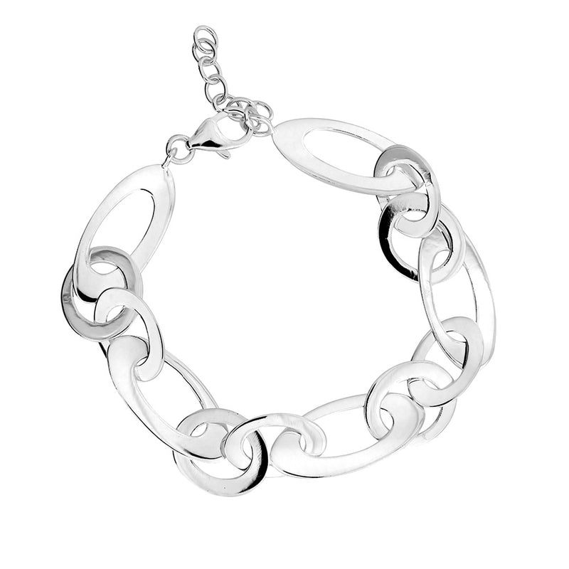 Silver Polished Flat Links Bracelet