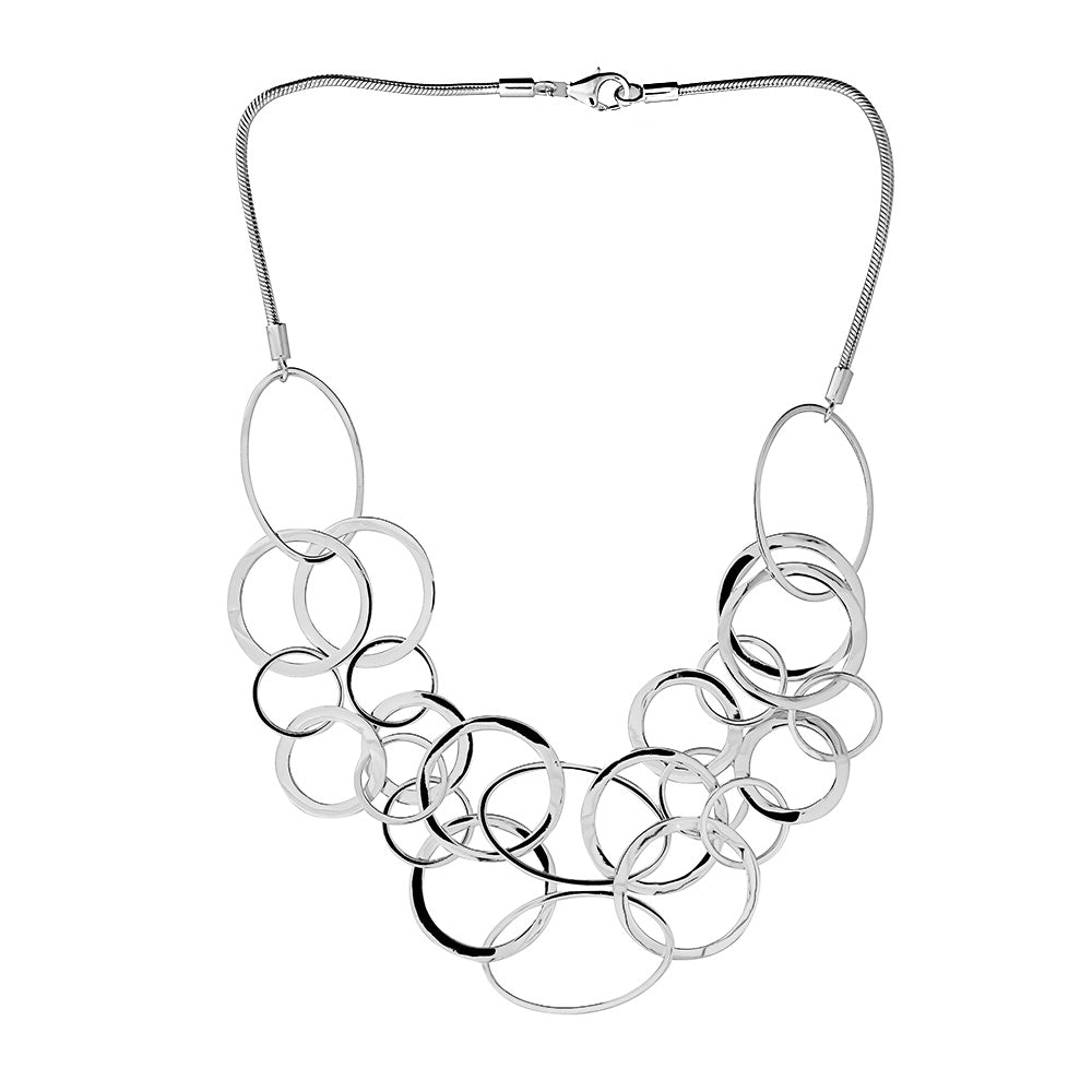Silver Open Links Statement Necklace