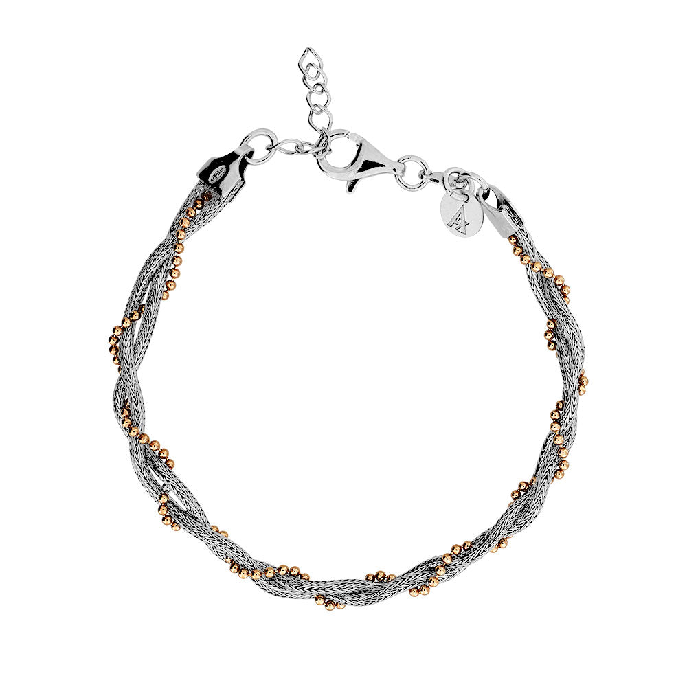 Silver & Rose Vermeil Plaited Chain Bracelet