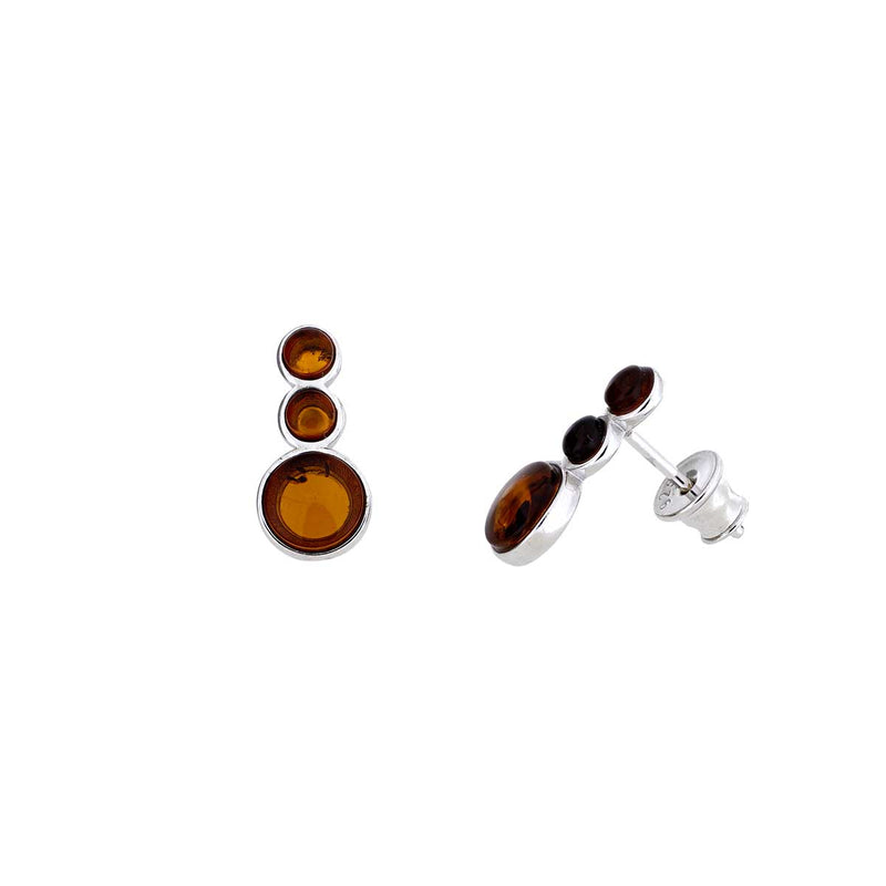 Silver Triple Stone Amber Stud Earrings