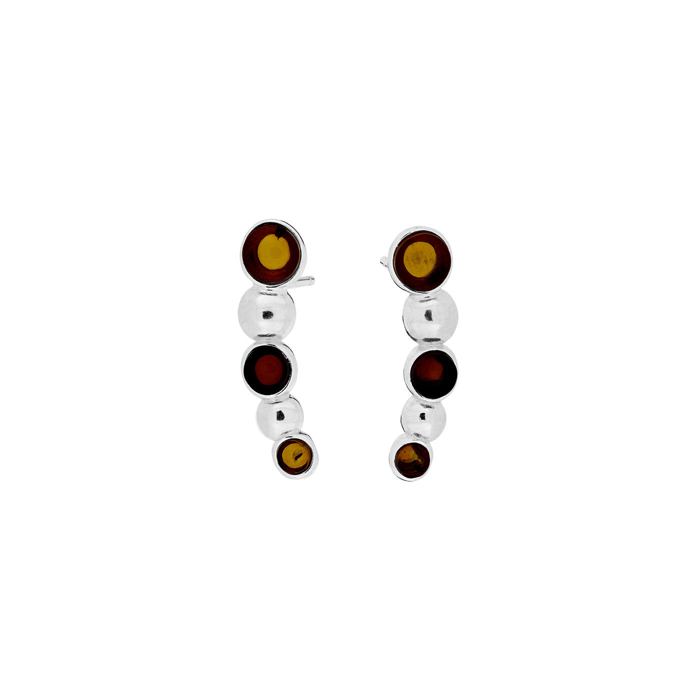 Two-Colour Amber Curving Beaded Earrings