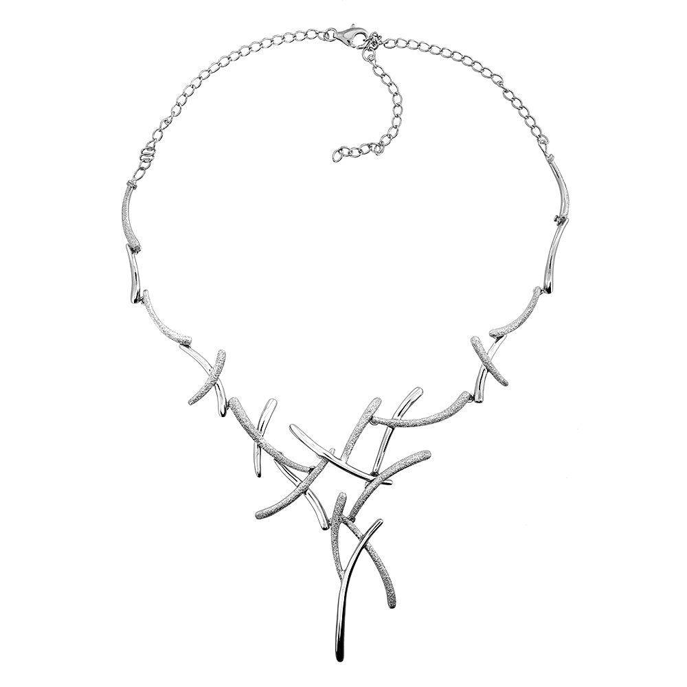 Silver Diamond-etched Statement Necklace
