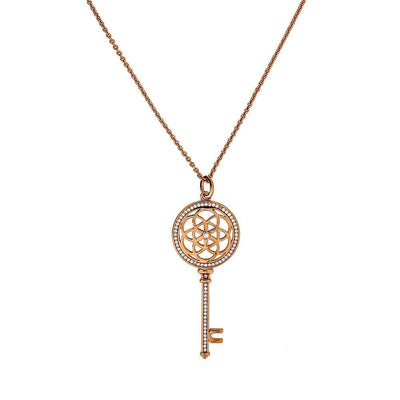 Rose Vermeil Camellia Pavé Key Necklace