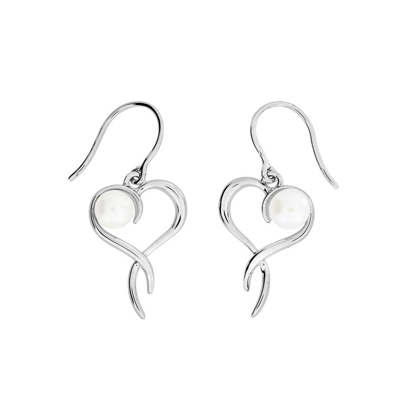 Silver & Pearl Heart Twist Drop Earrings