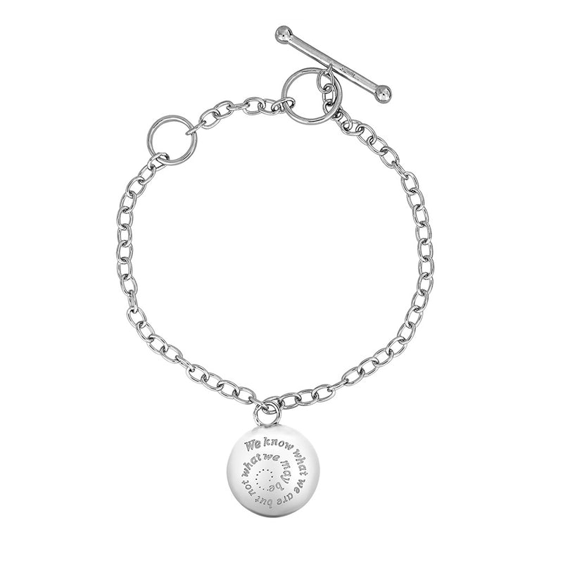 Silver Round Shakespeare Locket Bracelet
