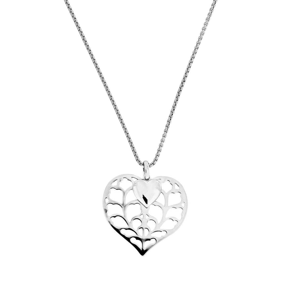 Silver Heart of Yorkshire Detailed Double Heart Pendant