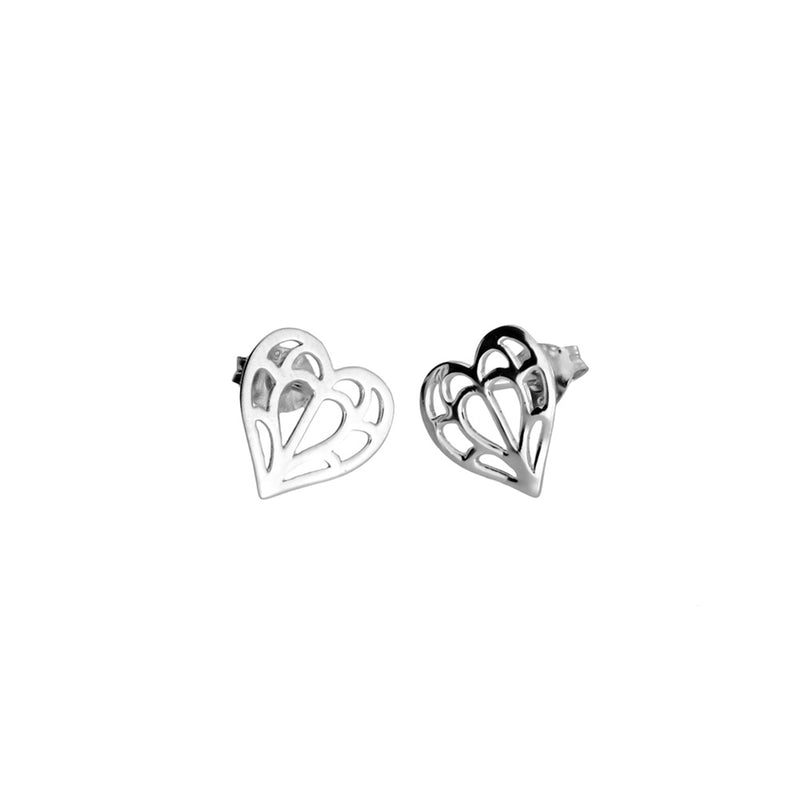 Silver Cut-Out Heart Studs