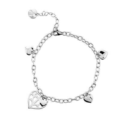 Silver Double Heart of Yorkshire Bracelet