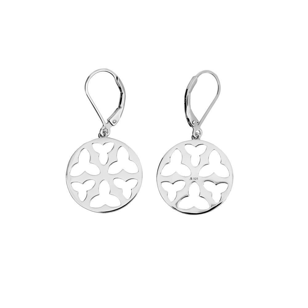 Silver Trefoil Cut-out Drop Earrings