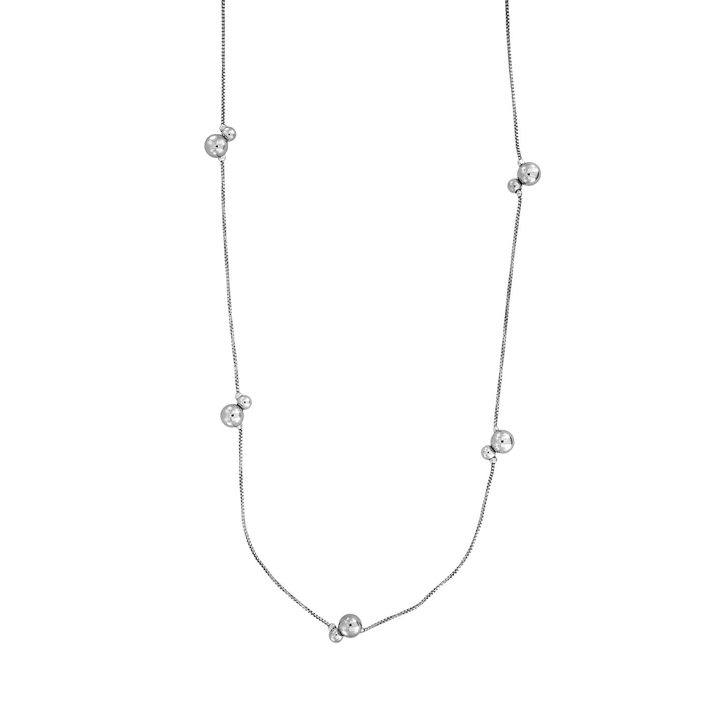 Silver Double Beads Long Necklace