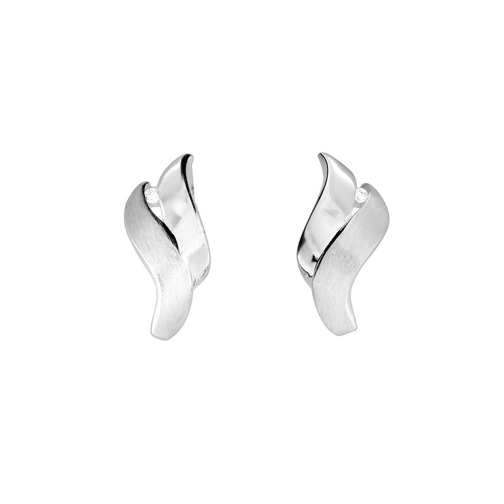 Silver Waves Stud Earrings