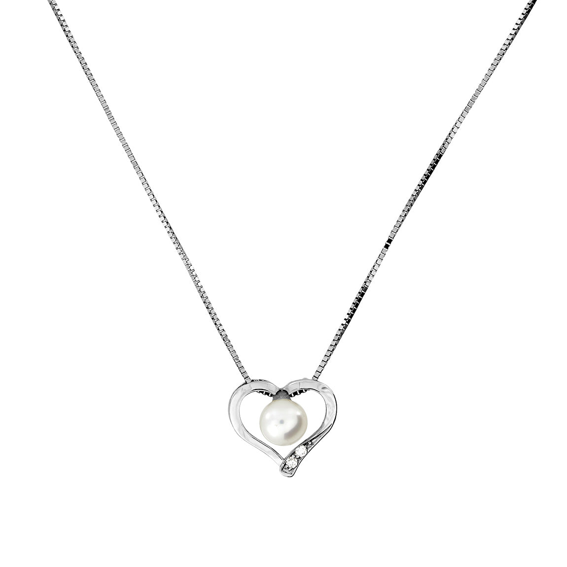 9ct White Gold Pearl & Diamond Heart Pendant
