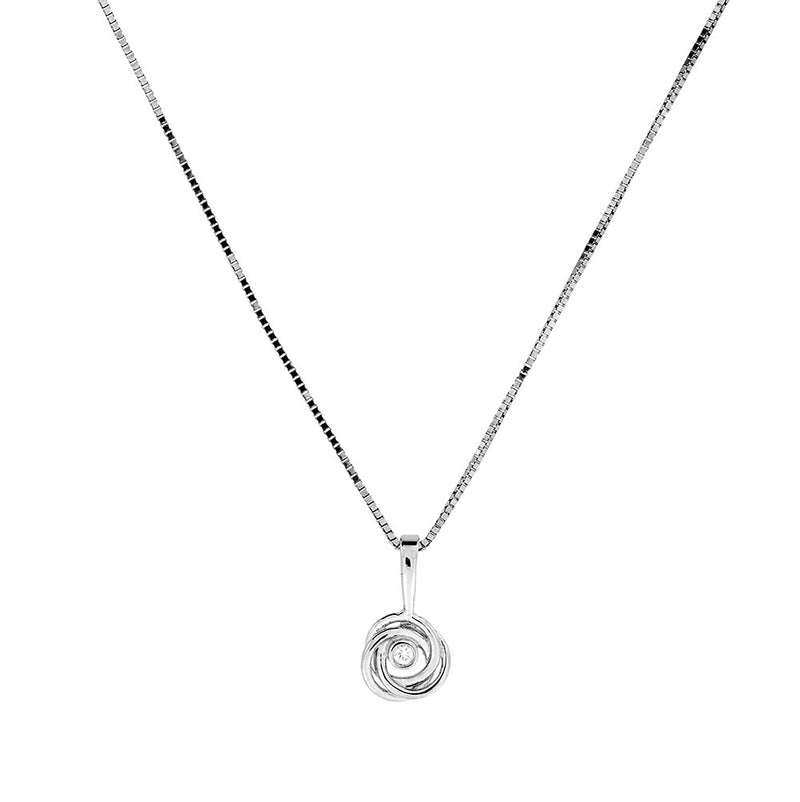 White Gold & Diamond Love-Knot Pendant