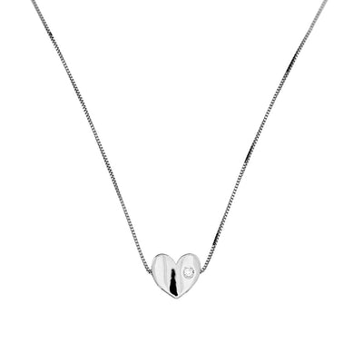 9ct White Gold & Diamond Heart Slider Pendant