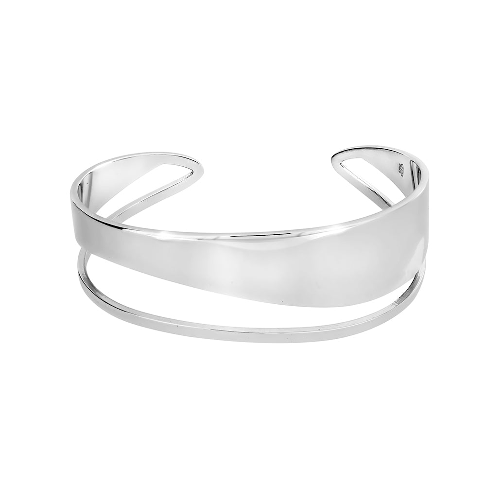Sterling Silver Open Wave Cuff Bangle