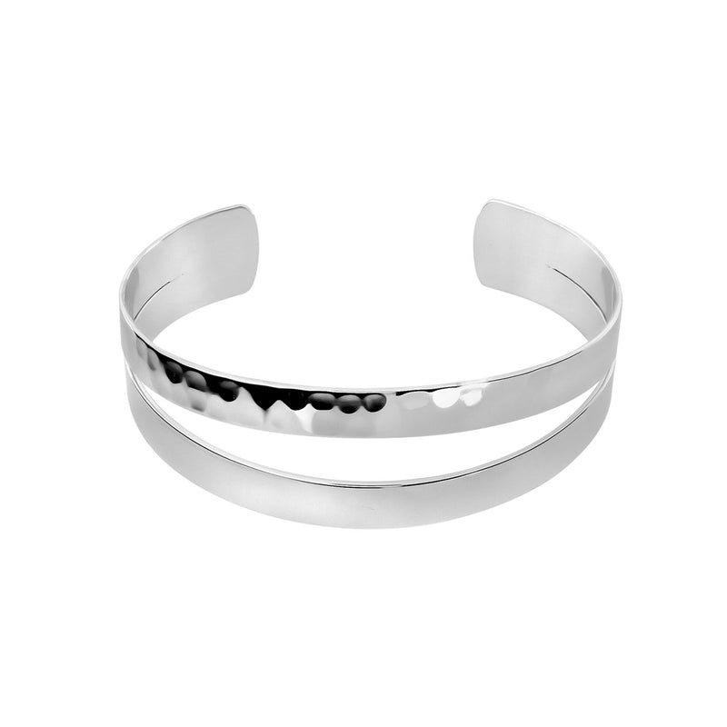 Silver Hammered & Polished Cuff Bangle