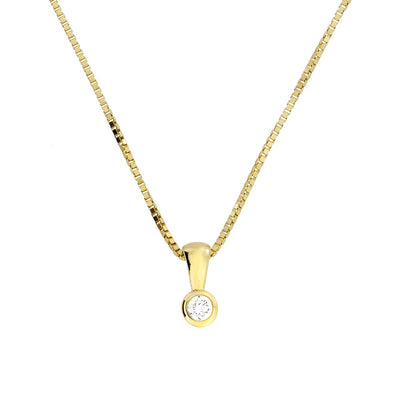 Gold & Diamond Solitaire Pendant; 0.07ct