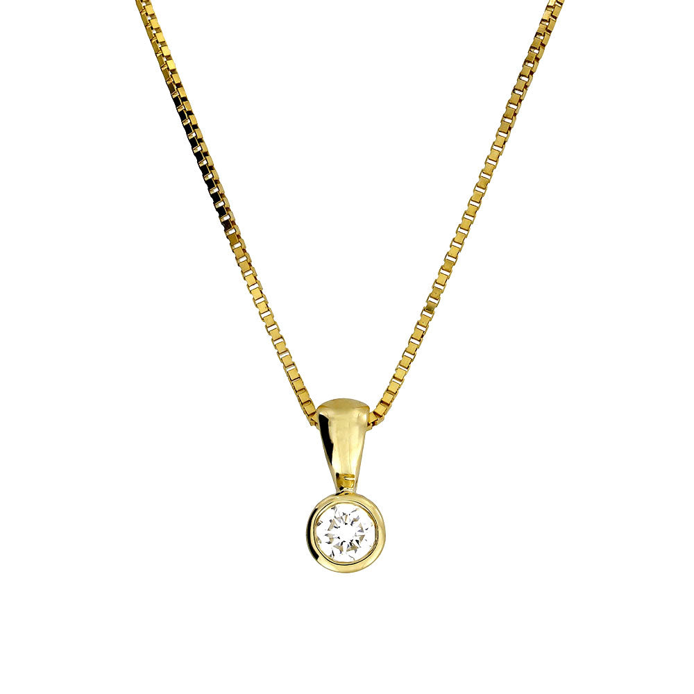 Gold & Diamond Solitaire Pendant; 0.16ct
