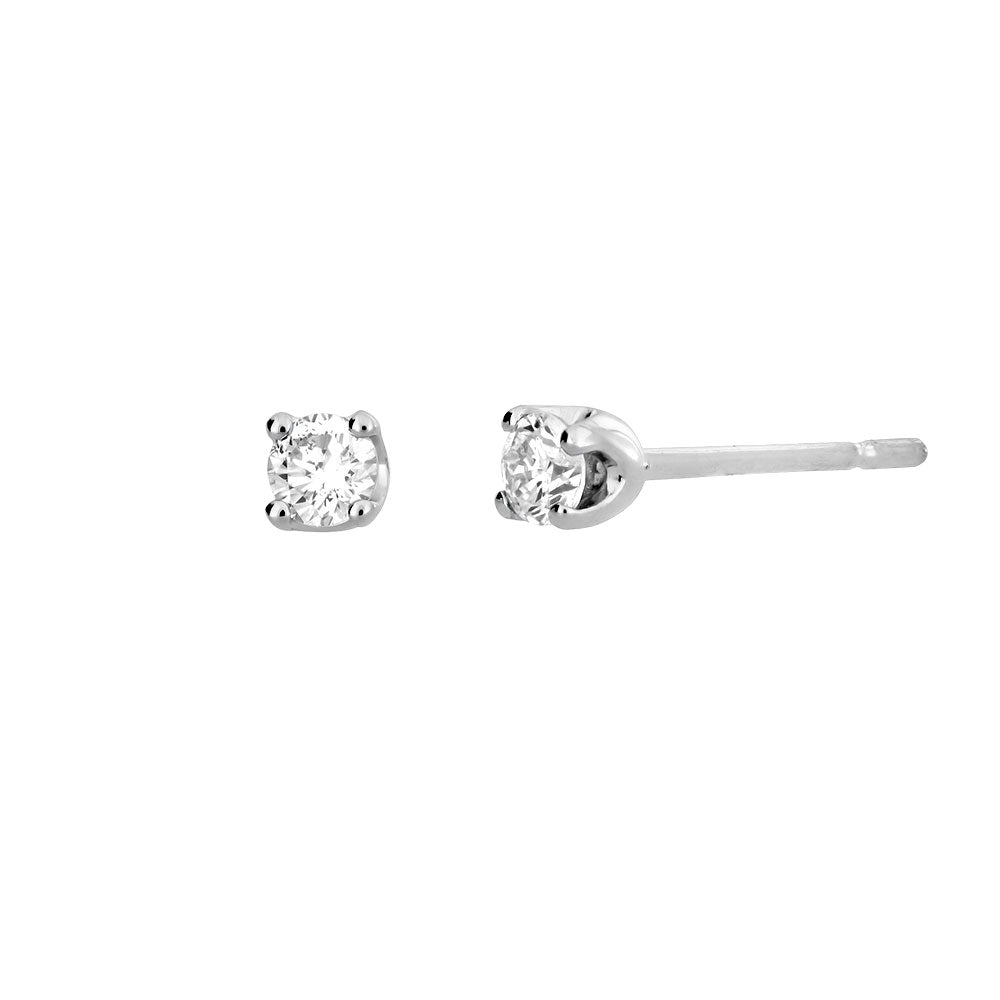 White Gold & Diamond Claw Stud Earrings; 0.14ct