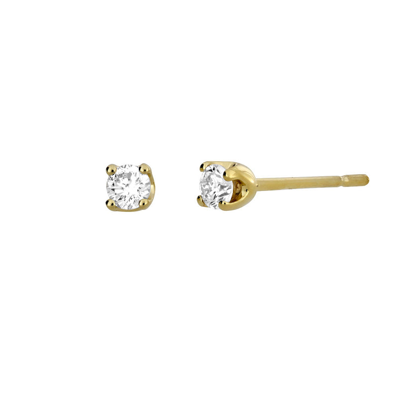 Gold & Diamond Claw Stud Earrings; 0.14ct