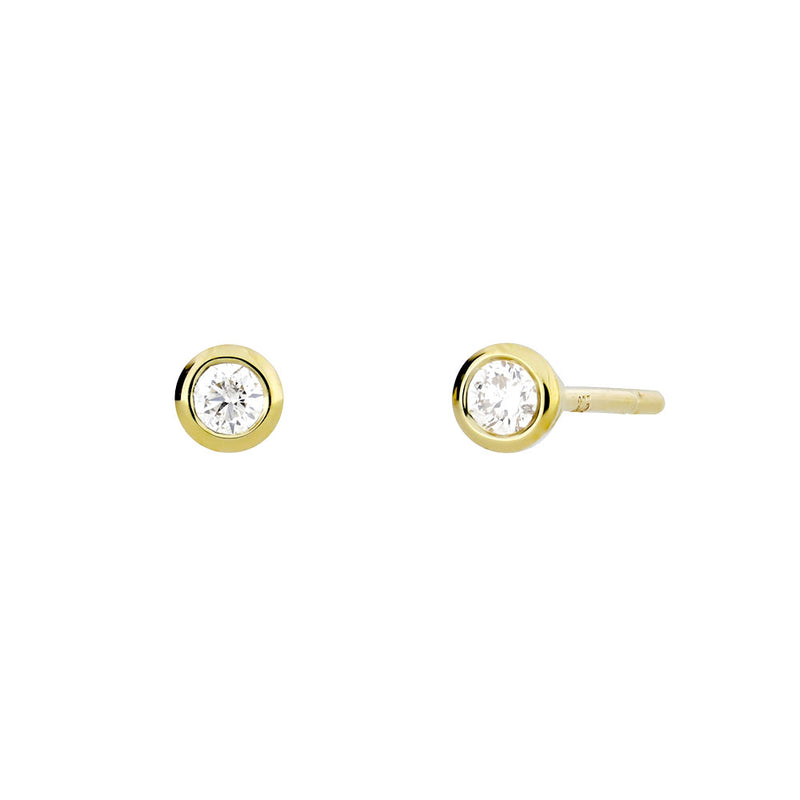 Gold & Diamond Stud Earrings; 0.08ct