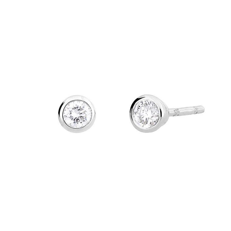 White Gold & Diamond Stud Earrings; 0.14ct