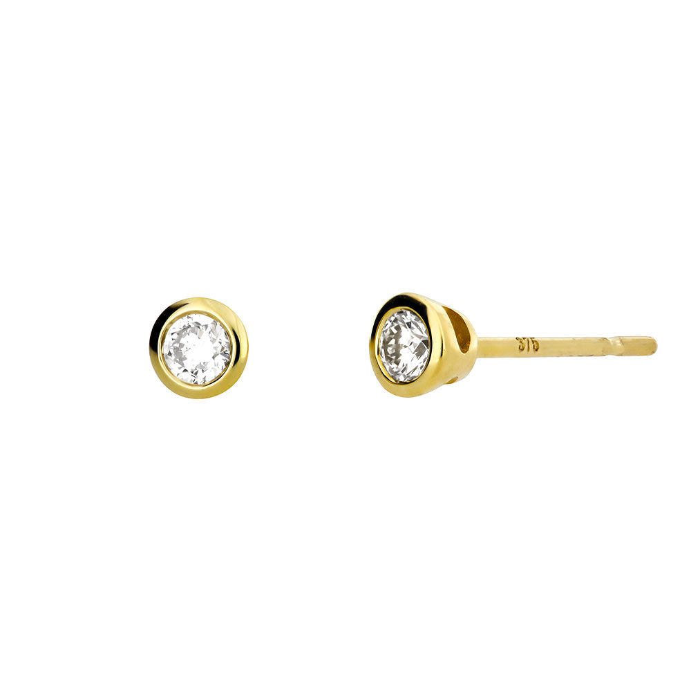 Gold & Diamond Stud Earrings; 0.14ct