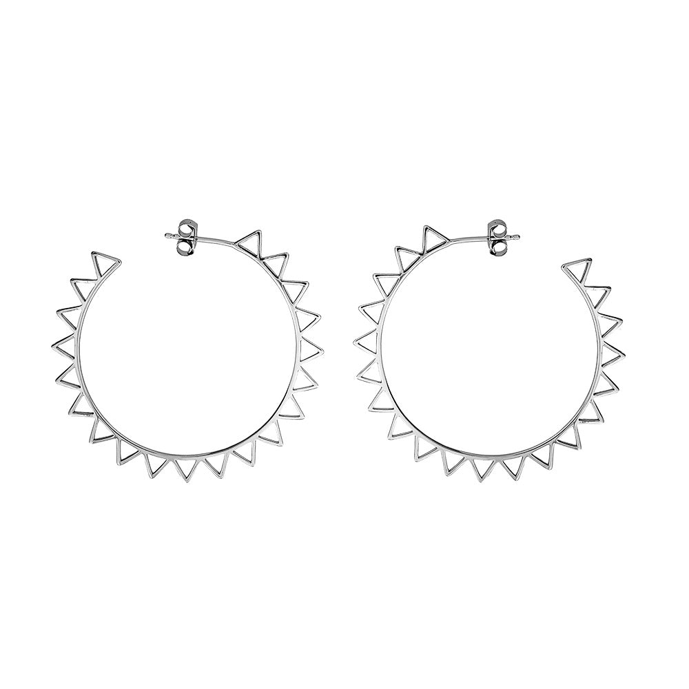 Silver Sun Outline Hoop Earrings